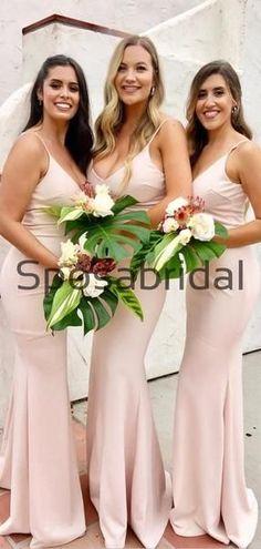 V-neck Elegant Pink Mermaid Soft Popular Formal Bridesmaid Dresses WG865 Formal Bridesmaids Dresses, Prom Dresses, Wedding Dresses, Maid Of Honour Dresses, Maid Of Honor, Dress Backs, Cheap Dresses, Dream Dress, Dress Making