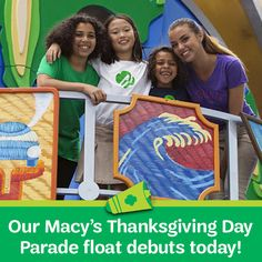 Today's the day! Our first-ever Girl Scout-themed float will debut today in the 90th Anniversary Macy's Thanksgiving Day Parade! The parade will run from 9:00 a.m. until noon in all time zones.