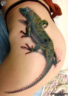 Not that i would get this but its pretty amazing. 3d kertenkele tattoo