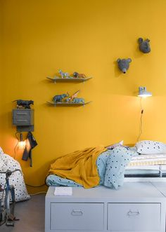 Small area should not make you distress. Here, I have for you more than dozens bedroom design and organization ideas that are not only fit Baby Bedroom, Kids Bedroom, Bedroom Ideas, Yellow Interior, Yellow Walls, Fashion Room, Room Decor, Interior Design, Furniture