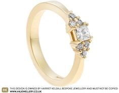 To make something truly sentimental for his partner, George chose to remodel his grandmother's ring into a new engagement ring. Using the 18ct yellow gold, our talented goldsmiths crafted this tapering band, set with George's grandmother's princess cut 0.20ct diamond and six 1.8mm round diamonds either side. Jewellery Designs, Princess Cut, Round Diamonds, Diamond Engagement Rings, Diamond Cuts, Band, Yellow, Jewelry, Sash