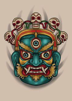 #tibetan #mask #drawing #art #tattoo #design Tibetan Tattoo, Tibetan Art, Tengu Tattoo, Guardian Tattoo, Tiki Tattoo, Mask Drawing, Tiki Mask, Japanese Tattoo Art, Japan Tattoo