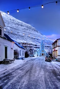 The last city on the end of the world: North - East Iceland - Seydisfiordur in the first days of the winter.
