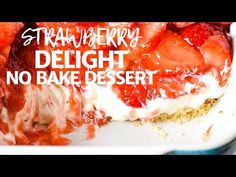 Simple and easy strawberry delight recipe with berries, cream cheese, whipped cream, powdered sugar, and a pecan crust. Dreamy no bake dessert recipe! Strawberry Cream Cheese Dessert, Strawberry Dessert Recipes, Cream Cheese Desserts, Fruit Salad Recipes, Strawberry Lasagna, No Bake Desserts, Delicious Desserts, Yummy Food, Pudding Desserts
