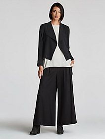 Drape Front Cropped Jacket in Silk Georgette Crepe
