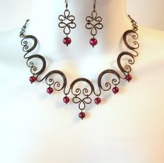 Wire Work Choker Necklace Set  Wine Freshwater by TheWireRose, $45.00