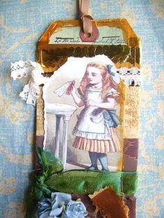Alice In Wonderland Art Collage Long TagDrink by lynnetteaprilarts, $5.00