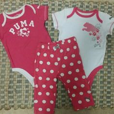 **baby edition!** puma set! 3-6 mo puma set! 2 onesies never washed or worn, pants worn a couple times. Like brand new! Super cute for spring and summer!! Puma Other