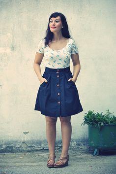 Printed tee, a-line skirt, wedge sandals