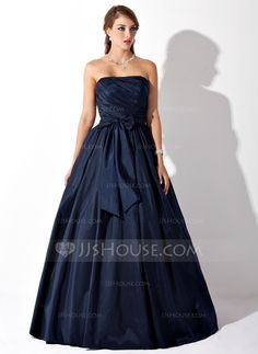 Ball-Gown Strapless Floor-Length Taffeta Prom Dress With Ruffle Bow(s) (018005046) - JJsHouse
