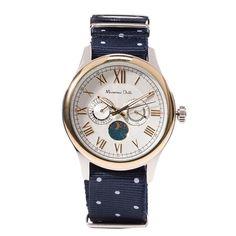 Часы с 4 циферблатами с металлическим корпусом и темно-синим тканым ремешком в белый горошек, Massimo Dutti, где купить: Massimo Dutti
