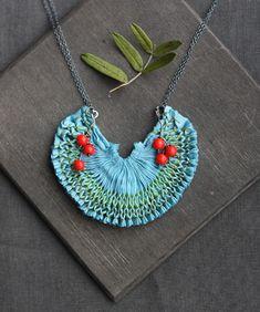 Beautiful smocked necklace - using hand dyed fabric & embellishments