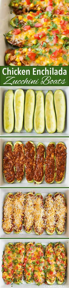 Chicken Enchilada Zucchini Boats