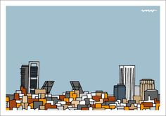 Skyline Madrid, During The Summer, Stencils, Templates, World, City, Illustration, Poster, Guest Room