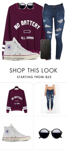 """""""I'm just a sucker for pain"""" by josie-posie ❤ liked on Polyvore featuring WithChic and Converse"""