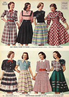 Eight charmingly lovely, youthful dress styles from 1948....you can see the full skirts of the fifties coming on...