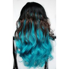 HALLOWEEN SALE - FELINE Blue wig // Black Brown Turquoise Teal Hair //... ($100) ❤ liked on Polyvore