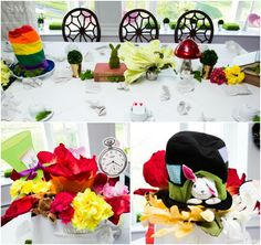 Alice In Wonderland Theme Bat Mitzvah Centerpieces {Party by Swank Productions, Sean Smith Photography} - mazelmoments.com