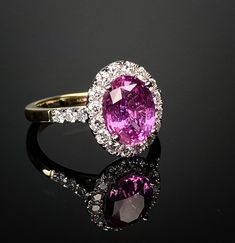 Pink sapphire and diamond cluster ring. Made in Chichester, England. Chichester England, Diamond Cluster Ring, Pink Sapphire, Red And Pink, Bespoke, Heart Ring, Shades, Jewellery, Rings