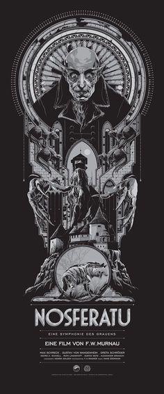 Vampire Movie Poster Art : Nosferatu 1922 by Ken Taylor Best Movie Posters, Classic Movie Posters, Classic Horror Movies, Movie Poster Art, Print Poster, Posters Vintage, Vintage Movies, Horror Movie Posters, Cinema Posters