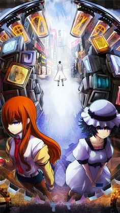 Steins;gate, #okabe #kurisu #mayushi This anime was the greatest!!! The best mix of science fiction and philological plot. It focuses on a group of friend who develop a simple time machine and get stuck in countless time loops. The main character, Okabe, is stuck, having to chose one friend's life over the other's,