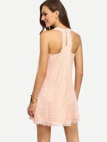 pink summer dress, sleeveless shift lace dress, hollow dress, sexy pink dress - Lyfie