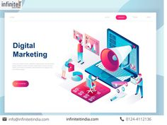 modern flat design isometric concept of digital marketing for banner and website. isometric landing page template. business analysis content strategy and management. Internet Marketing Consultant, Internet Marketing Seo, Business Marketing, Id Digital, Ecommerce Website Design, Website Design Company, Web Development Company, Design Graphique, Digital Marketing Services
