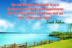 Our real blessings often appear to us in the shape of pains, losses and disappointments; but let us have patience and we soon shall see them in their proper figures. | quotesofday.com