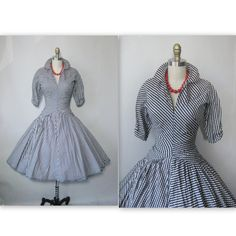 1950's Black & White Gingham Cotton Cocktail by TheVintageStudio