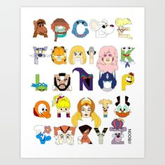 An alphabetic tribute to your favorite animated/puppet TV characters from the decade. I tried to limit characters who originated in a movie and shows aimed specifically at preschoolers or adults. Have fun guessing who is who.<br/> <br/> 60s, 70s, 90s and 00s Alphabets also available.