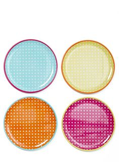 Set of four polka dot melamine dinner plates - dining glassware - Home Lighting Furniture  sc 1 st  Pinterest : polka dot plastic plates - pezcame.com