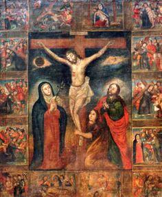 """""""Crucifisión, con la Virgem, San José y San Juan, con escenas del Viacrucis"""" Colonial Alto Perú,siglo XVIII, óleo/lienzo, med: 138X111 cms."""
