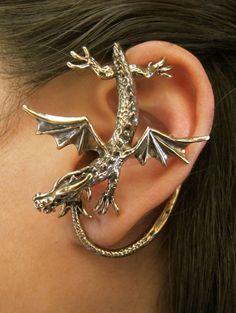 Dragon Sentry Ear Wrap - Bronze Bronze Dragon, Cuff Earrings, Octopus Jewelry, Dragon Jewelry, Gold Jewelry, Jewelry Accessories, Jewelery, Etsy Jewelry, Magic Store