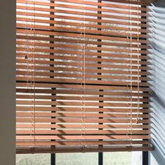 Custom Size Now by Levolor 48-in W x 72-in L Walnut Faux Wood 2-in Slat Room Darkening Plantation Blinds