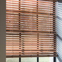 Custom Size Now by Levolor 48-in W x 72-in L Walnut Faux Wood 2-in Slat Room Darkening Plantation Blinds