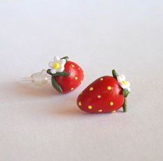 Red Strawberry Earrings Hypoallergenic by PitterPatterPolymer
