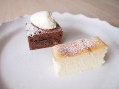Brownie and cheesecake