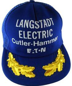 b12ac470792 Langstadt Electric Supply Co Appleton WI Snapback Trucker Hat Cap NOS 1980s  Blue…