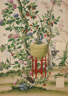 Murals of Flower vase on stool with flowering tree by V&A (3000mm x 2400mm)   Shop   Surface View