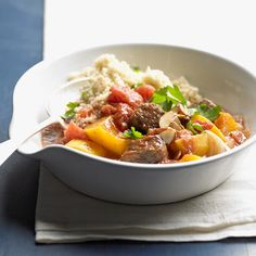 Beef Stew with Butternut Squash: Nutrient-packed butternut squash is a natural in this flavorful Moroccan-inspired stew. Serve with couscous to soak up the rich tomatoey sauce.