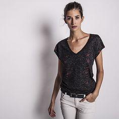 Tee-shirt noir chiné