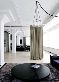 Who doesn't dream of living in an amazing loft conversion in Manhattan? Tribeca Loft is the epitome of that dream; it is the Manhattan Loft Conversion, the place that you imagine when you close your eyes and picture the perfect urban NY living space. Curtain Room, Room Divider Curtain, Room Dividers, Curtain Partition, Curtain Panels, Wall Partition, Loft Spaces, Living Spaces, Open Spaces