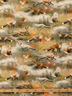 Tricot digitale print vossen in het wild