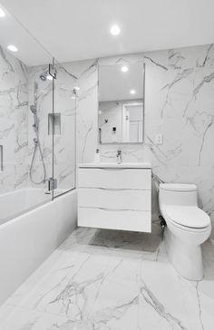 Modern Home Interior Design, Bathroom Design Luxury, Modern Bathroom Design, Bathroom Renos, Diy Bathroom Decor, Small Full Bathroom, White Marble Bathrooms, Dream Bathrooms, My New Room