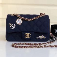 Chanel Wool with Charms Classic Small Flap Bag A01112 Navy Blue 2018  Designer Bags For Less 93d8b0df440f5