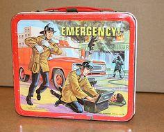 Antique Vintage Emergency Metal Lunch Box 1973 Rare TV Show Paramedics Firemen