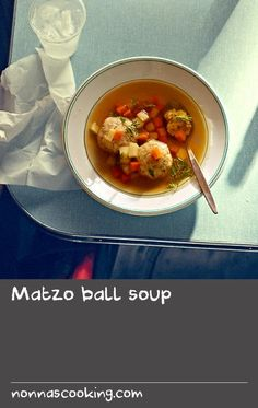Matzo ball soup | Matzah, matzoh, matza - there are as many ways of spelling this New York classic as there are ways to cook it: several small balls versus one big ball; dense balls versus light and fluffy ones; vegetables in the broth versus broth only, and the list goes on. This recipe makes 12 medium-sized matzo balls that are light and fluffy, with some carrots and parsnips in the broth for sweetness. Many Jewish New Yorkers serve matzo ball soup at their seder dinner to mark the start… Swede Recipes, Home Recipes, Dinner Recipes, Fishball Recipe, Classic Soup Recipe, Recipes With Vegetable Broth, Matzo Meal, Soup Broth, Meals For One