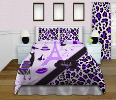 Paris themed bedding sets, Eiffel Tower home decor, Purple Cheetah Print Duvet Cover, London designer themed room, Girls Paris Duvet #148 by EloquentInnovations on Etsy