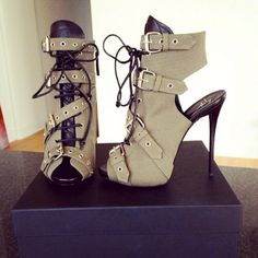 Buckled open-style boots