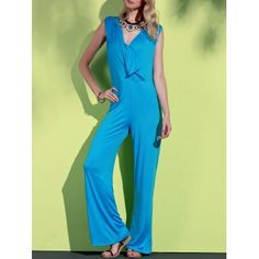 SHARE & Get it FREE | Elegant Plunging Neck Sleeveless Blue Wide-Leg Jumpsuit For WomenFor Fashion Lovers only:80,000+ Items·FREE SHIPPING Join Dresslily: Get YOUR $50 NOW!
